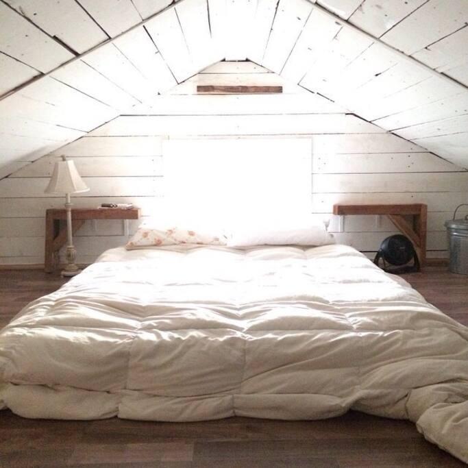Attic loft, full bed.