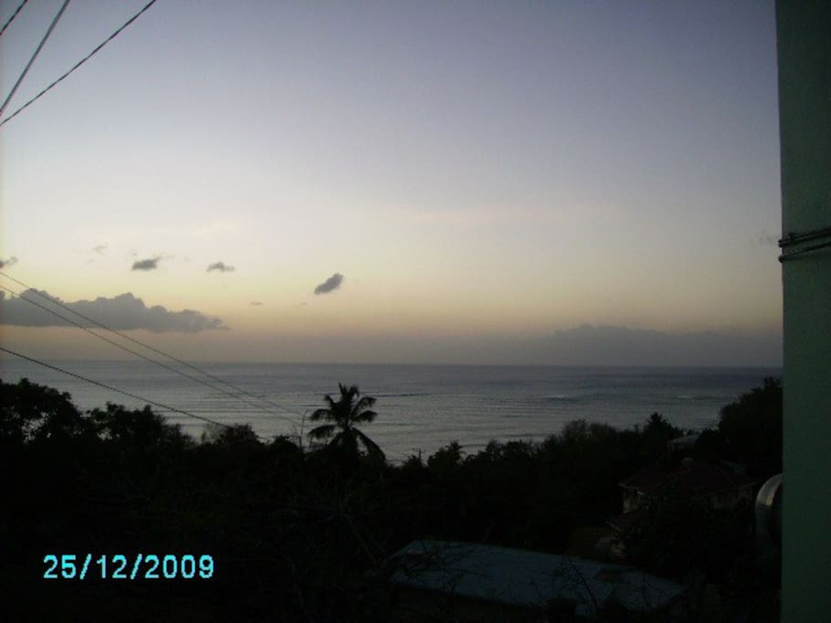 The Caribbean Sea as viewed from the apartment.