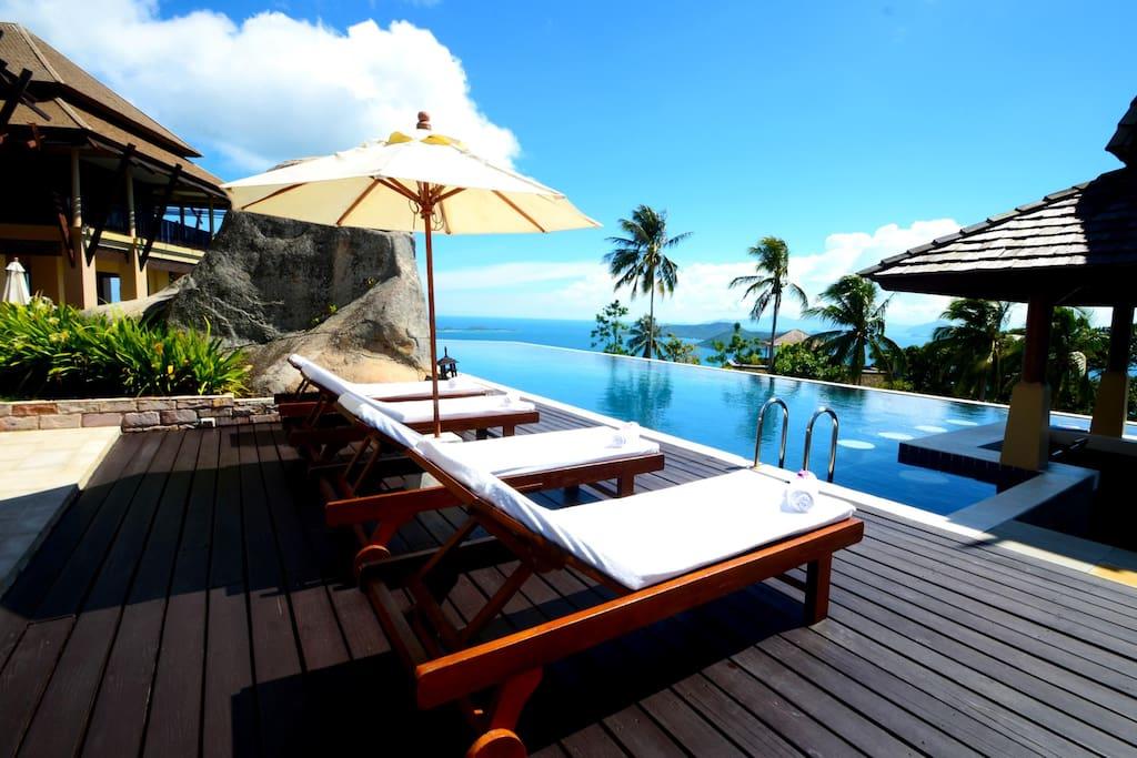 Part of pool sunbathing area