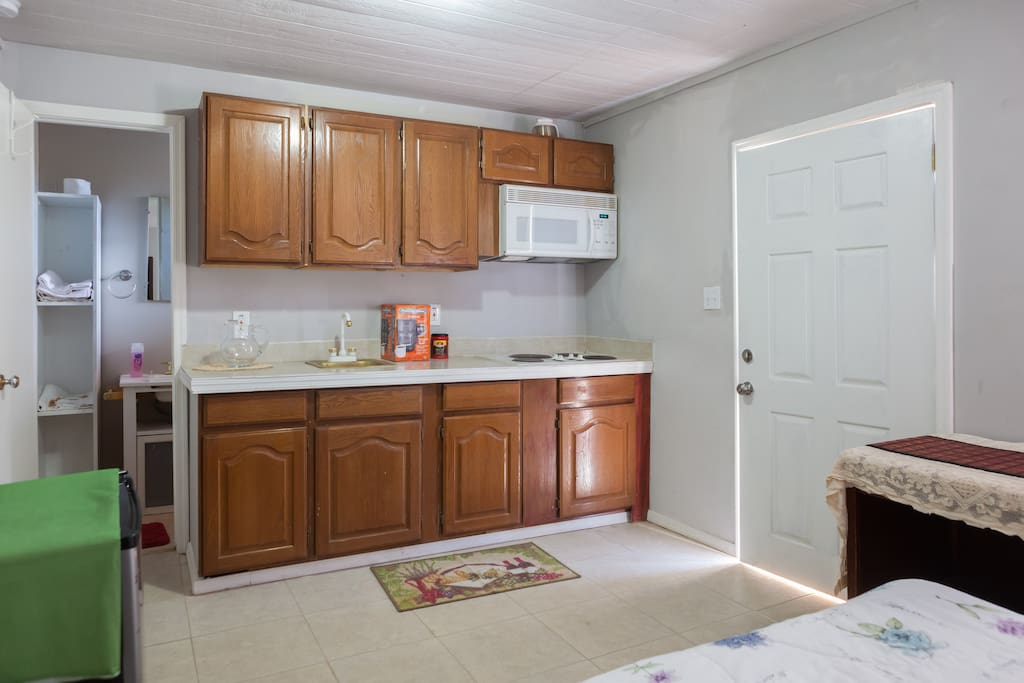 Kitchen view from back of Bedroom
