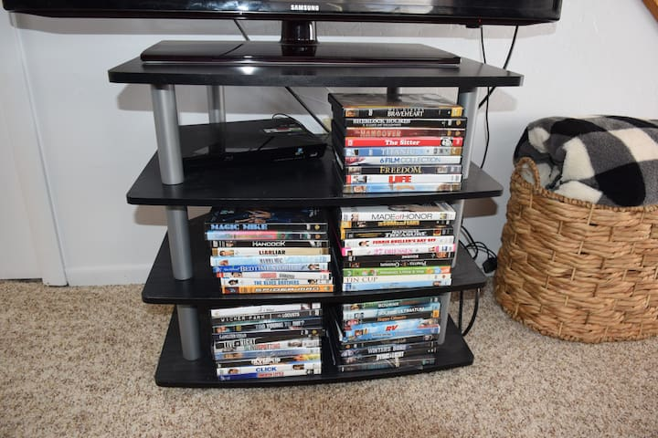 40+ DVDs available for your entertainment