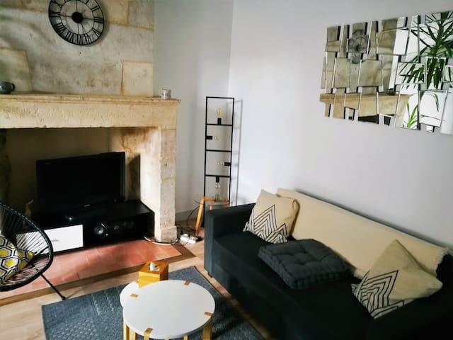 salon avec cheminée en pierre