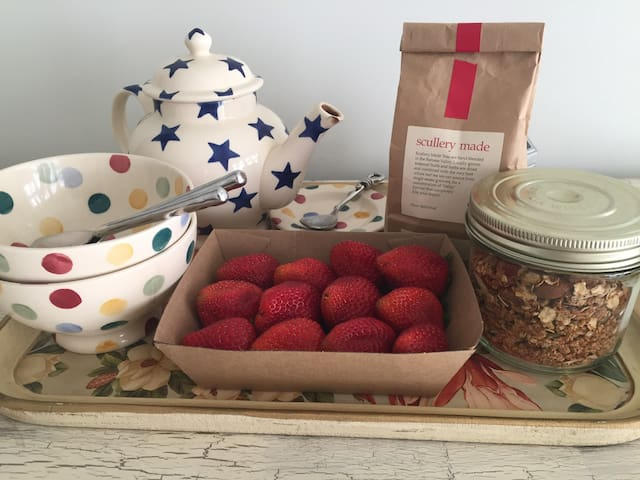 Home made Granola and some fresh Farmers Market strawberries