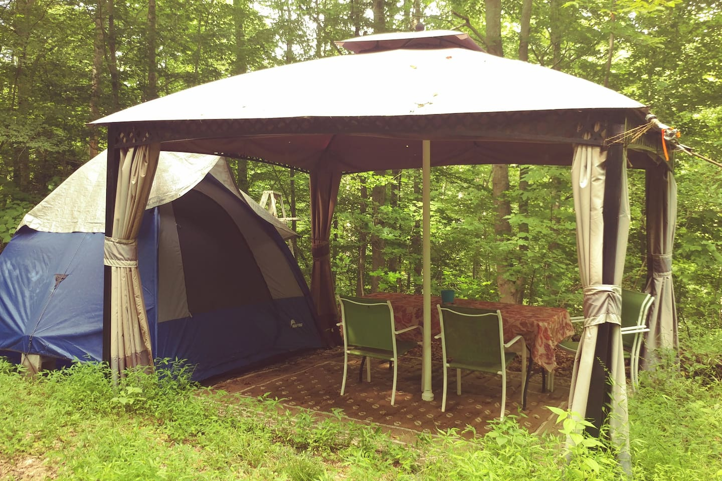 Tent and covered picnic area.  Rent this or bring your own.
