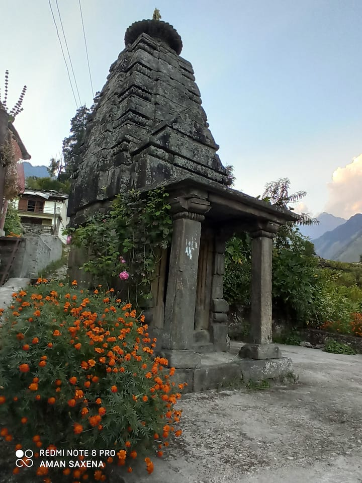 Temple, Waterfall, River, Farms, Mudhouse , Valley