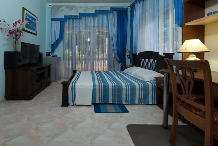 Double blue room.