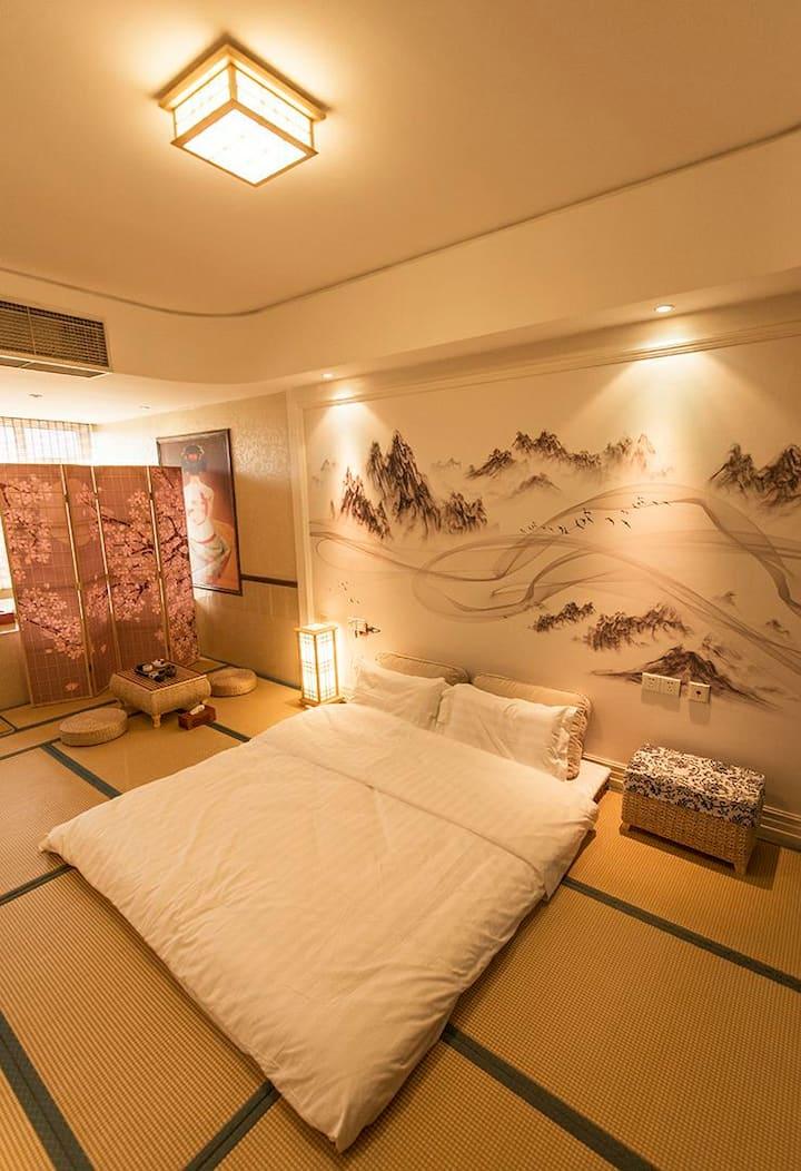 【遇见.隐庐】——私汤入户,公寓大床房,55寸小米电视可投屏观看大片,日式和风,茶道