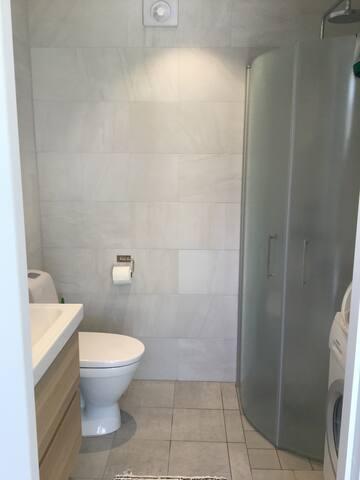 Helkaklat badrum, dusch och tvättmaskin