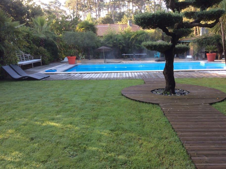 Vue des chambres et salon vers le jardin et piscine