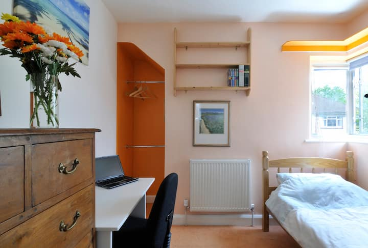 Sunny, extended single room with TV and free Wi-Fi