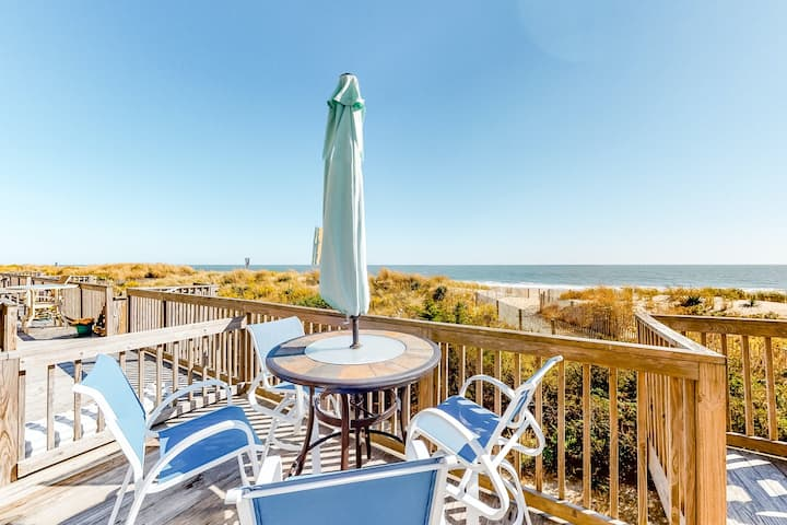 Family-friendly oceanfront condo with water view, spacious deck, & beach access!