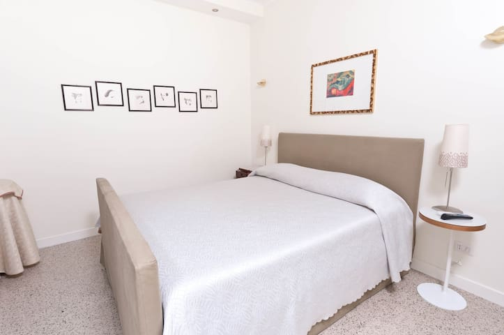 Bedroom with comfortable latex and foam mattress