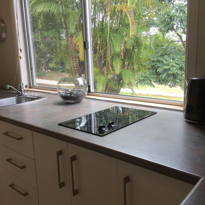 Small kitchenette with tropical garden aspect