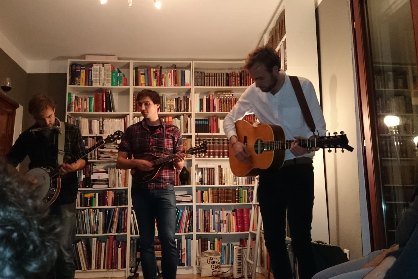 house warming party, with a living room concert