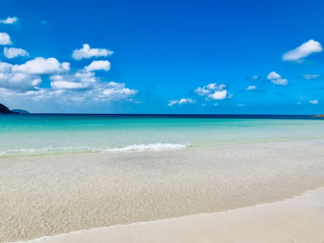 Turquoise blue ocean. Just right front of your cottage.
