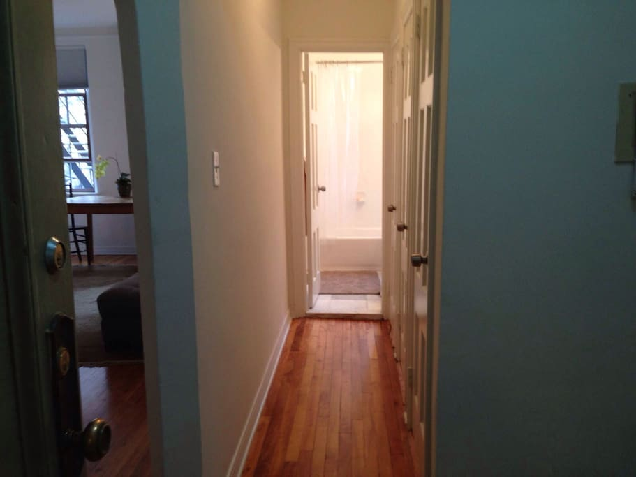 3 large closets in separate passageway to bathroom