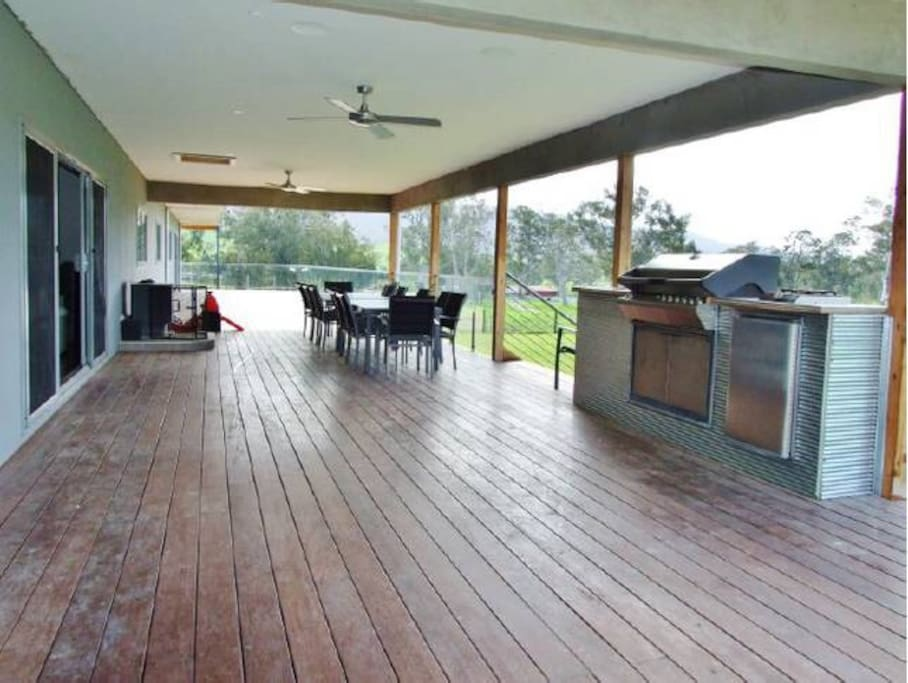 Front Verandah 50m long and 5m wide with covered alfresco and BBQ