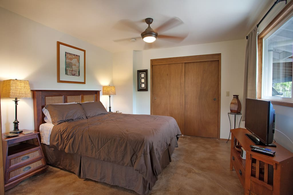 Spacious bedroom offers a luxurious and comfortable king-size bed with satellite TV and wi-fi internet.