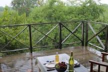 Upstairs balcony in the summer rain