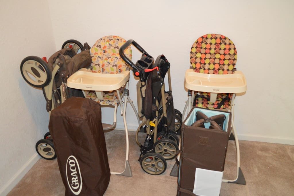 Lots of Baby Equipment.  Two strollers, two Highchairs and two pack & Plays.