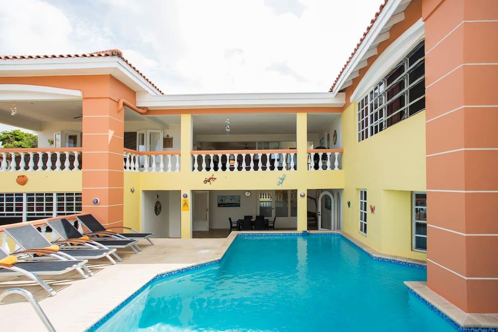 Porch, balcony, ground floor bedroom 2, first floor MBR.