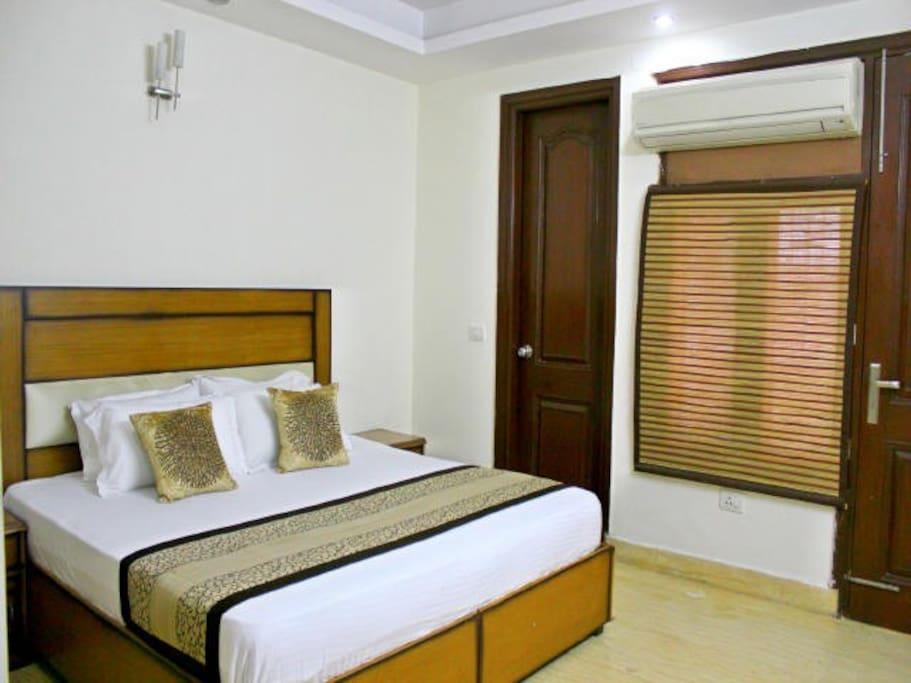 "Elegant 6*6 King bed with 8"" premium mattress plus attached bathroom."