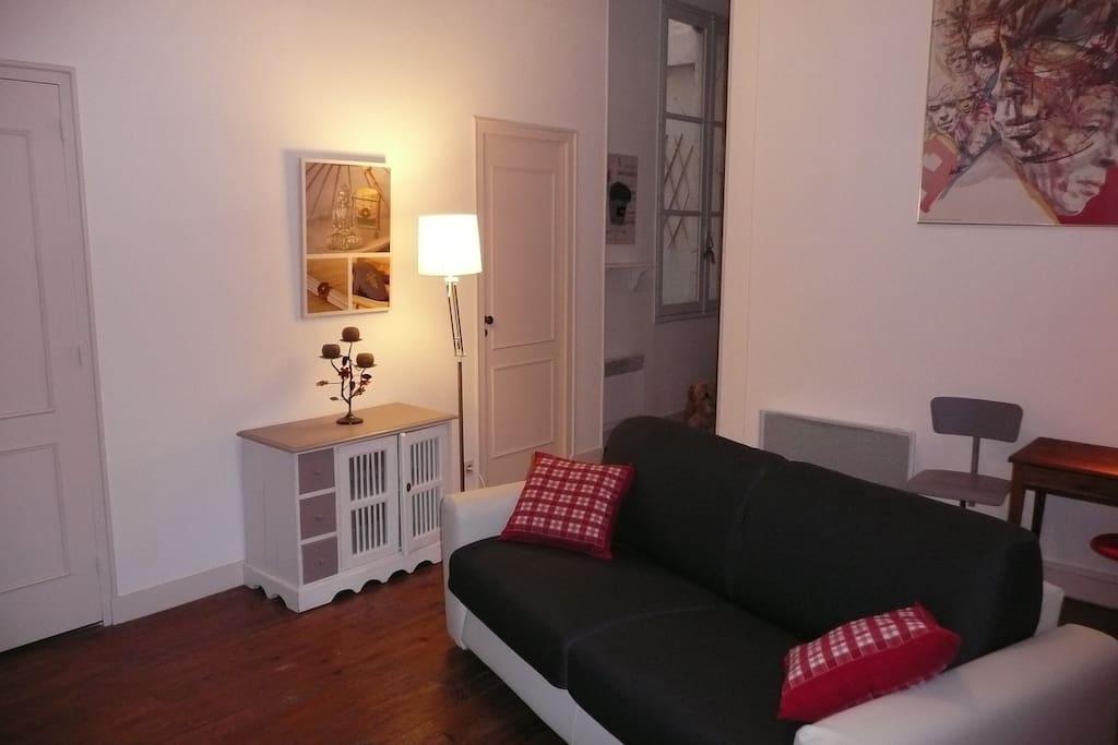 Canapé lit confortable à usage quotidien dans le salon