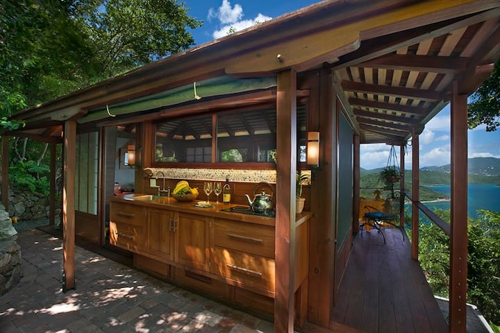 Unique under-roof outdoor galley kitchen are