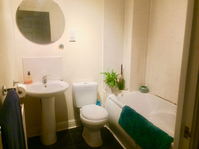 Bathroom with bath, shower, sink and toilet