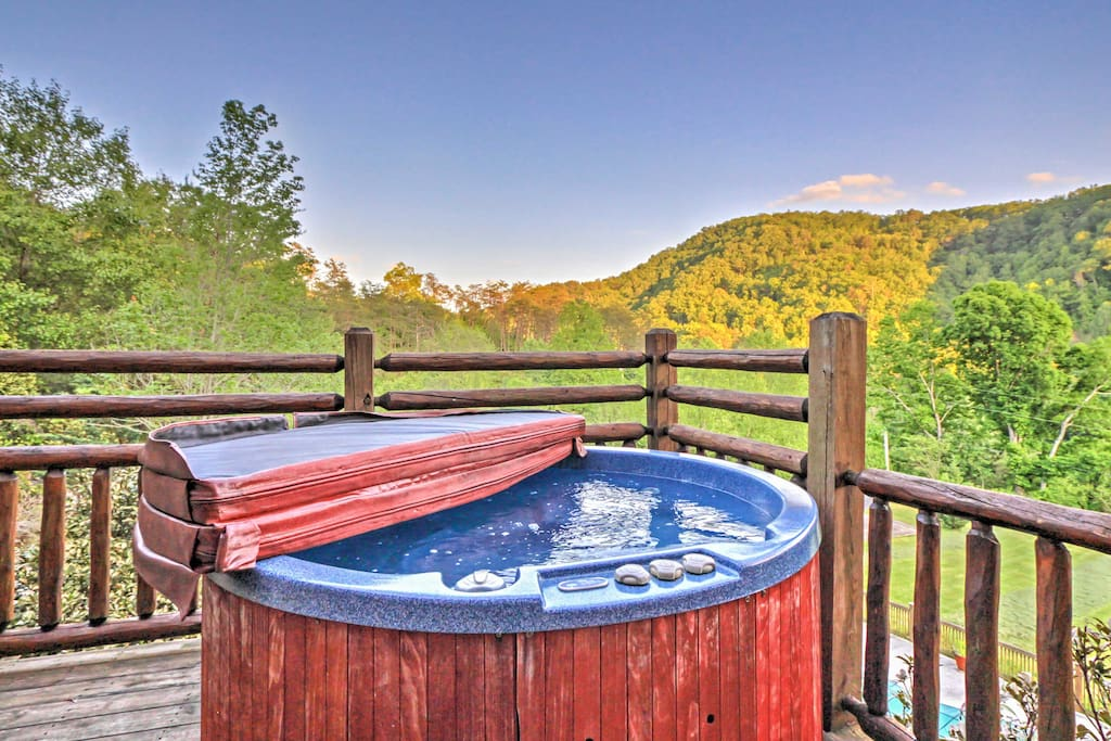 Steam your worries away while admiring the surrounding scenery from this hot tub.
