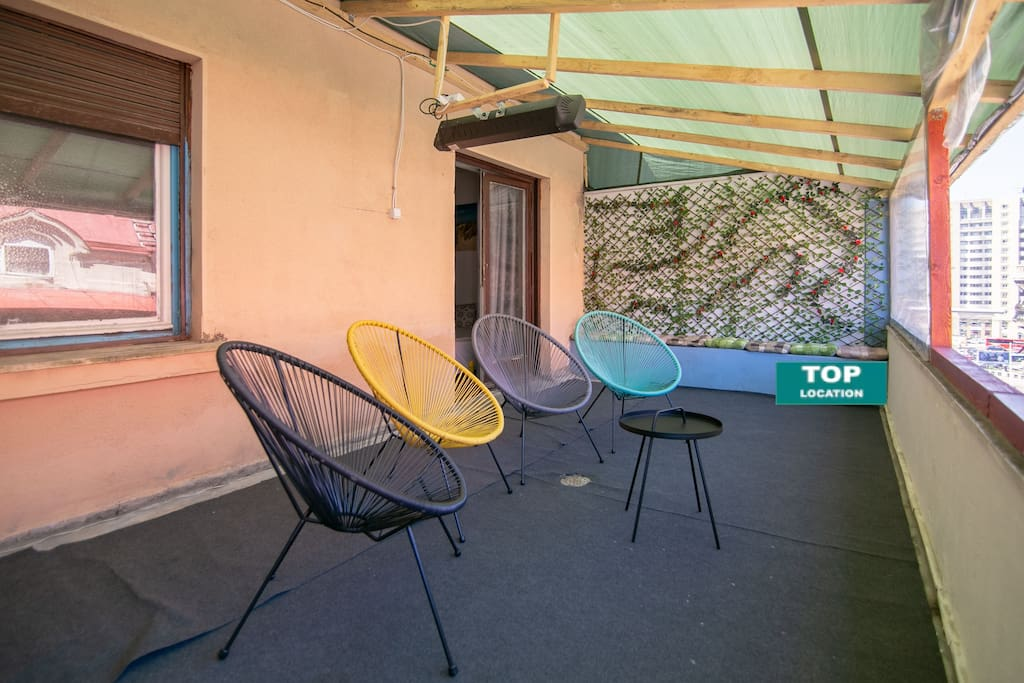Cozy modern chairs on the garden terrace