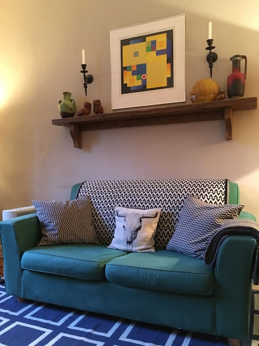 Comfy sofa, pulls out to form a double bed for when more than 2 guests are staying