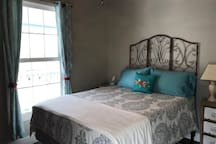 Second bedroom with queen size bed and memory foam mattress