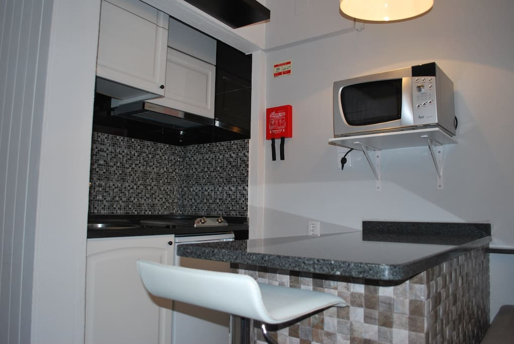 Kitchen (equipped with microwaves, coffee machine, water boiler, stove, fridge and toaster)