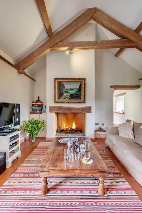 Living room, cosy log fire