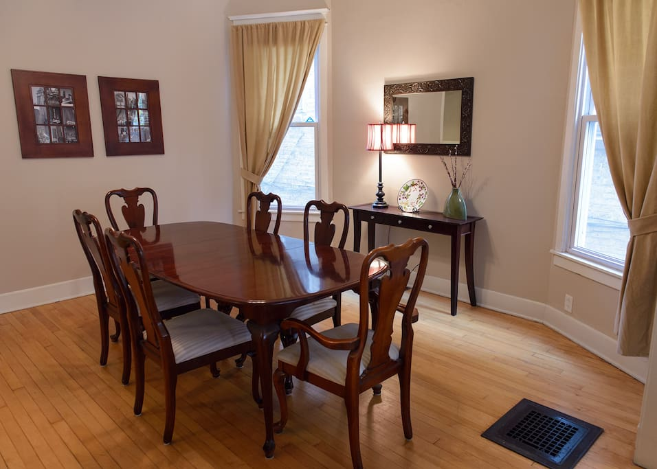 Dining Room: The dining room features a formal table that comfortably seats 6.  The dining room is an open space off the living room.