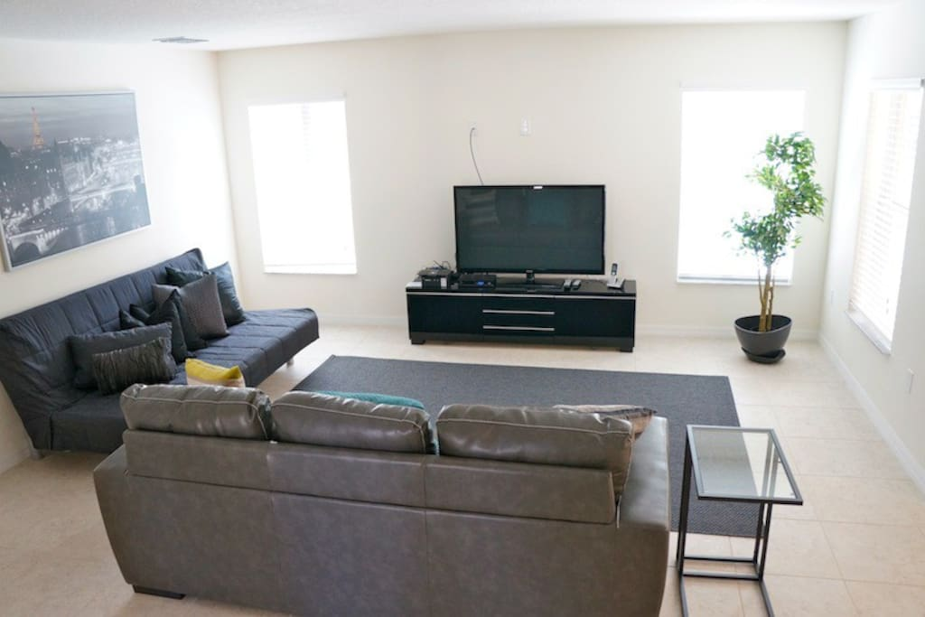 Open Living Room with large Flat Screen TV