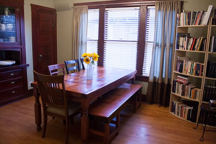 Dining room table seats up to 9!
