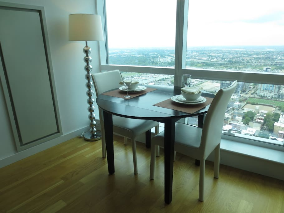Dining area with seating for two where you can dine in comfort