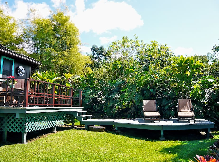 The cottage's bi-level lanai: Upper suitable for dining; lower for sunning and relaxation.