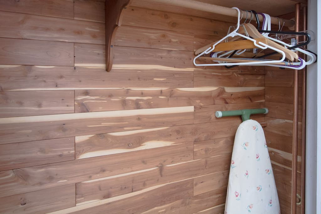Enjoy this spacious cedar closet for hanging your clothes during your stay. Iron and ironing board available.