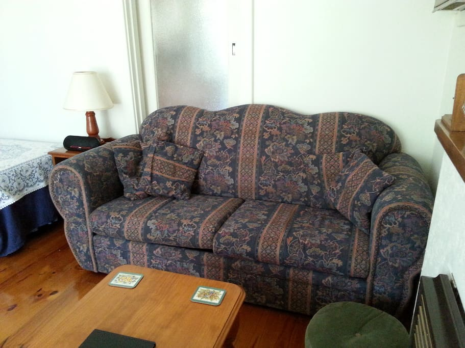 comfy couch, also a sofa bed