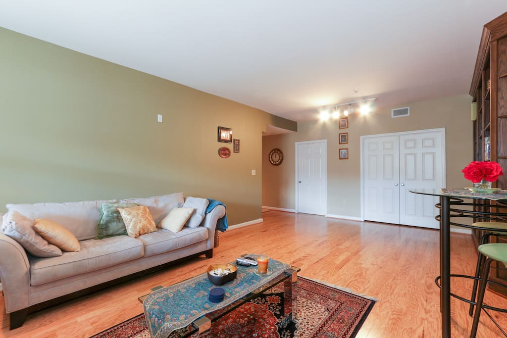 Living room has comfortable plush couches and...