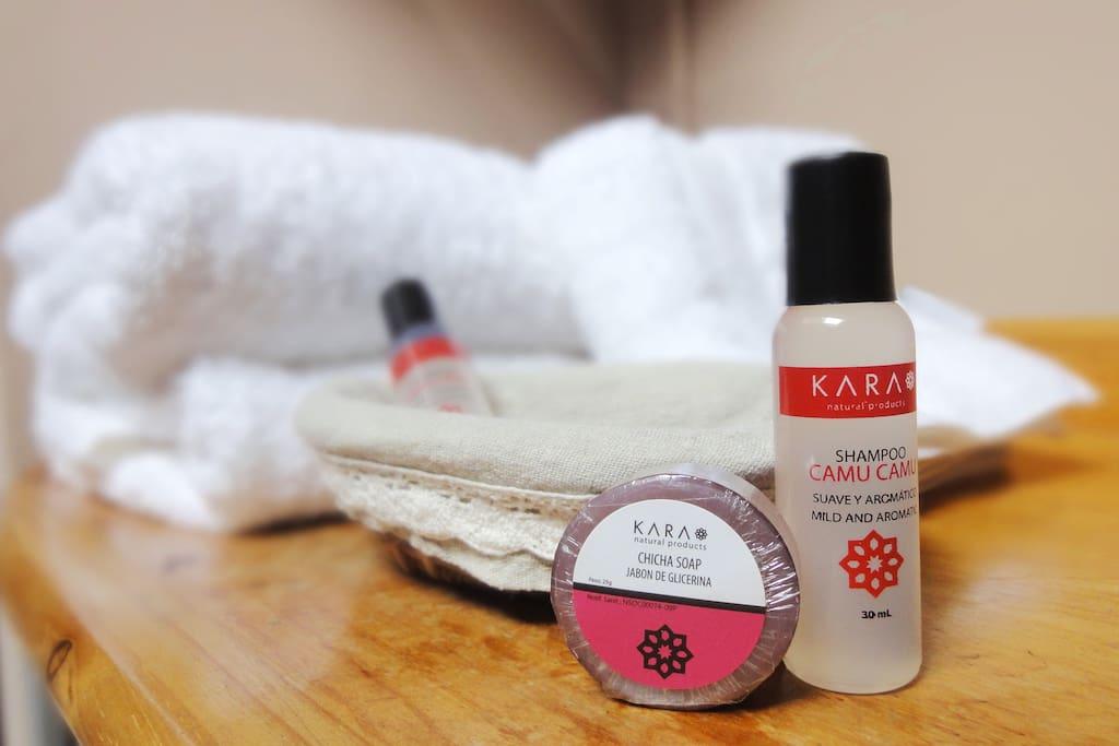 Amenities, shampoo + jabón, de cortesía (a pedido)
