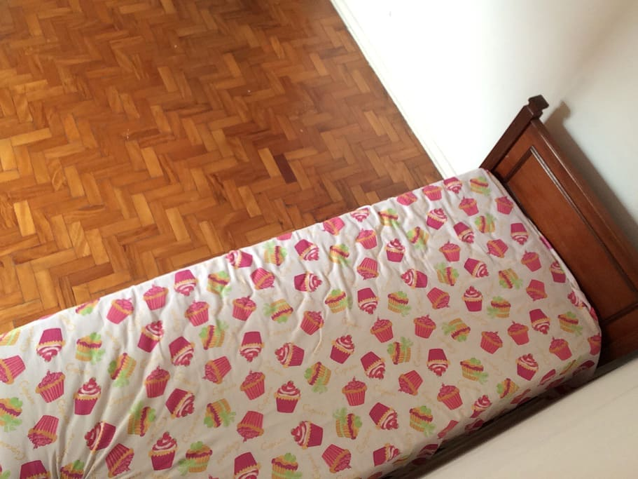 Single bed with sheet and pillow included.