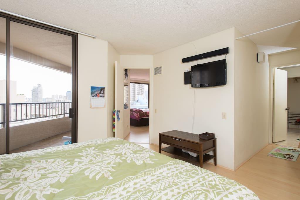 TV & balcony access