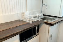 Microwave & galley sink.