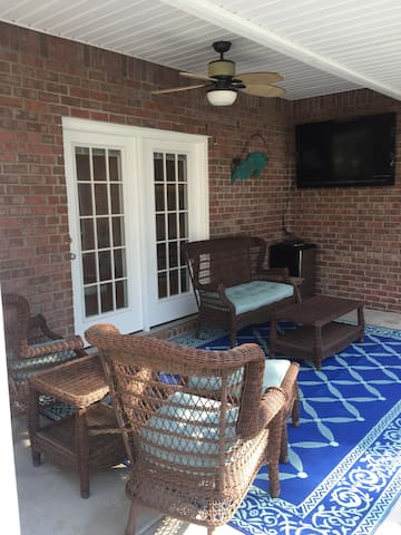 Back porch with TV