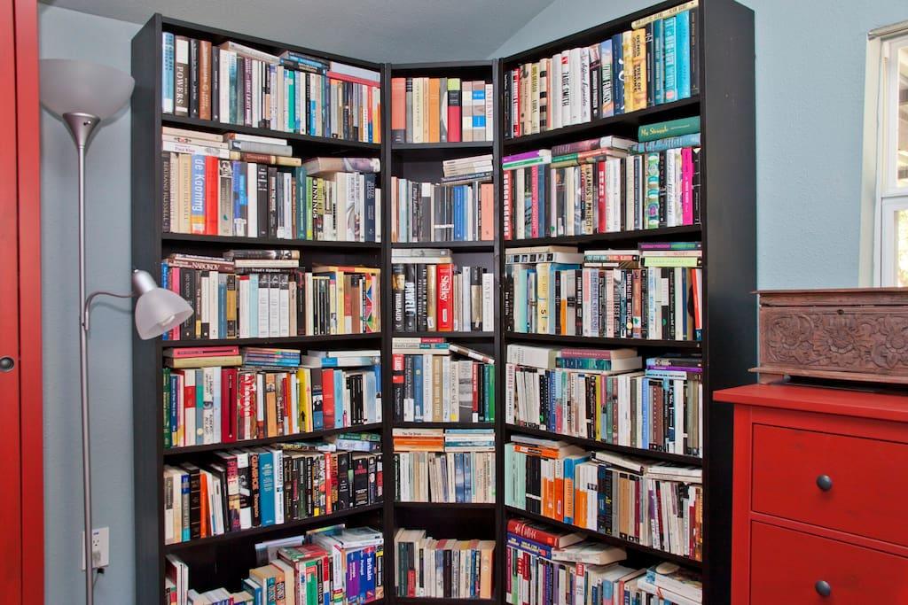 Books in main bedroom