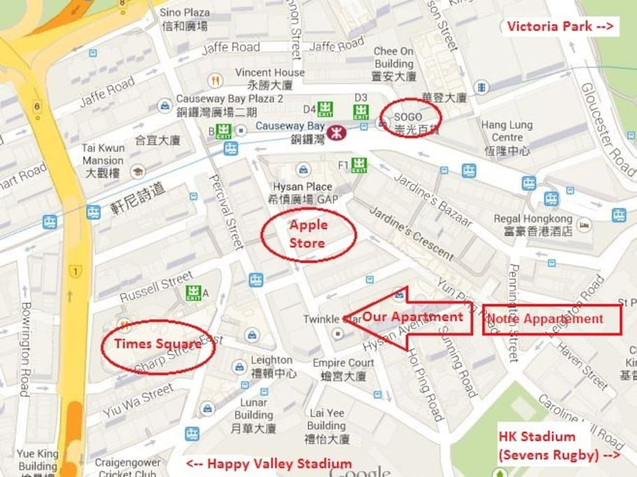The exact location of our apartment.  Airbnb sometimes moves the location pin on their map.  We are 3 minutes walk to Causeway Bay MTR station & Times Square.  Emplacement exact notre appartement.